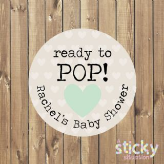 Personalised 'Ready to Pop' Baby Shower Stickers - Mint Green Heart Design